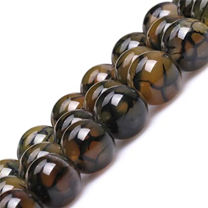 """Faceted Yellow Dragon 6mm  Veins Agate Round Gemstones Loose Beads 15/"""" AAA"""
