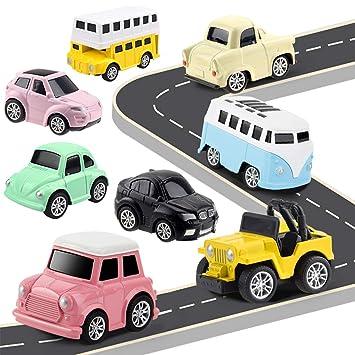 HERSITY 8 Piezas Tire hacia Atrás Modelo Coches de Juguetes de Metálicos Vehiculos Miniatura Decoración Pastel para Niños Niñas