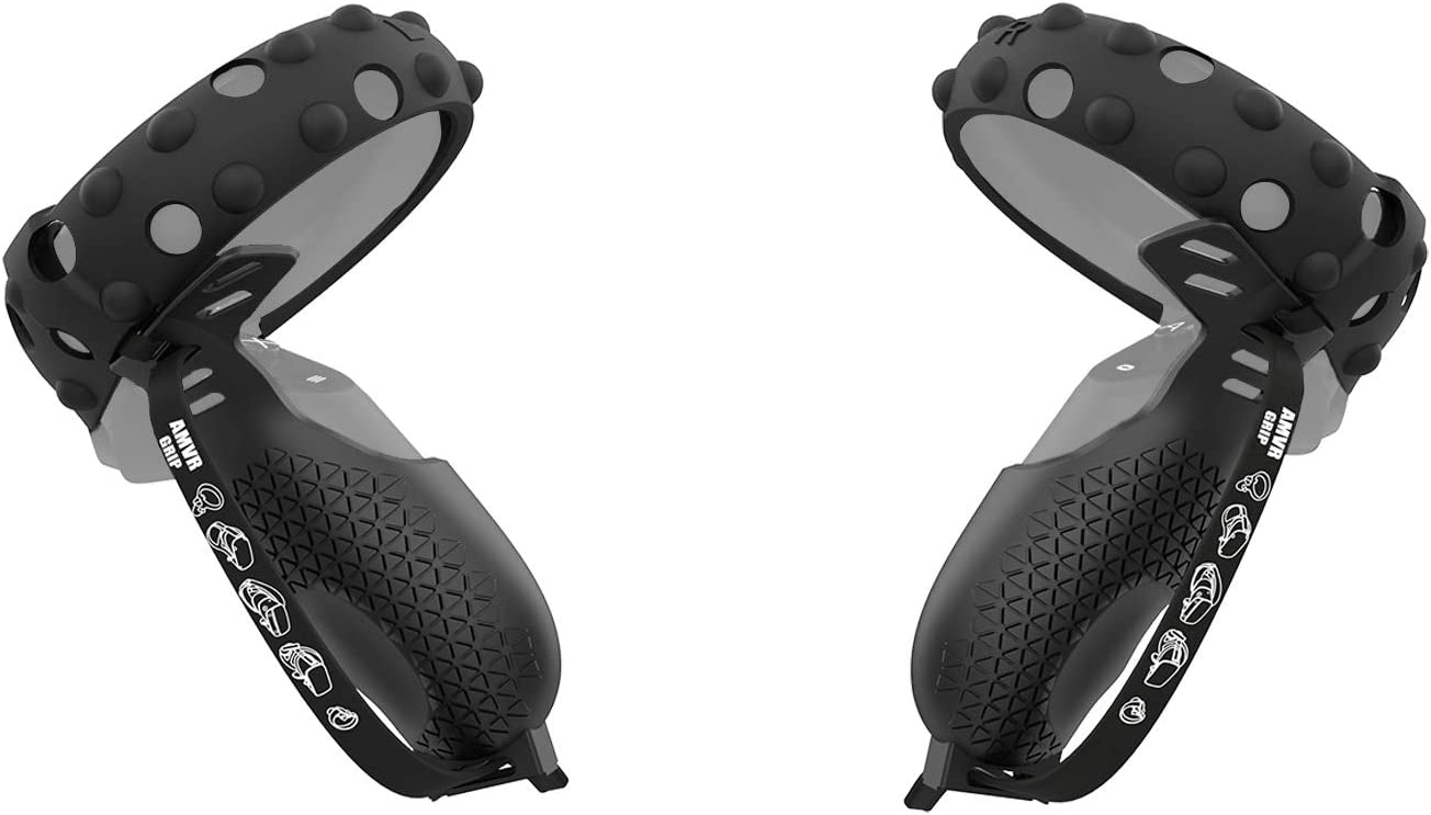 AMVR [Pro Version Touch Controller Grip Cover & Anti-Collision Protection Ring Set de silicona para Oculus Quest 1 o Rift S mango antitiro, accesorios de funda protectora con correa ajustable (neg