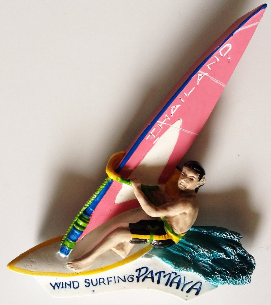 Windsurfing PATTAYA Thailand High Quality Resin 3D fridge Refrigerator Thai Magnet Hand Made Craft.