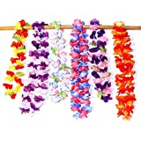 Hawaiian Ruffled Simulated Silk Flower Leis Set of 12 Great for Parties, Clubs, Get-togethers etc.