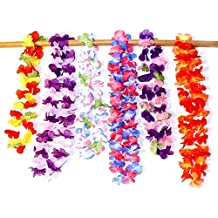 dazzling toys Ruffle Hawaiian Flower Leis - Silk 24 Pack - 2 Dozen Assorted Flower Necklace Luau Party Supplies for Holiday Events | Bat Mitzvah | Birthday | Graduation | Family Vacations