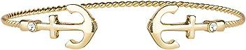 SIX Damen Armschmuck, gedrehter offener Armreif mit Ankern, Gold (442-568)