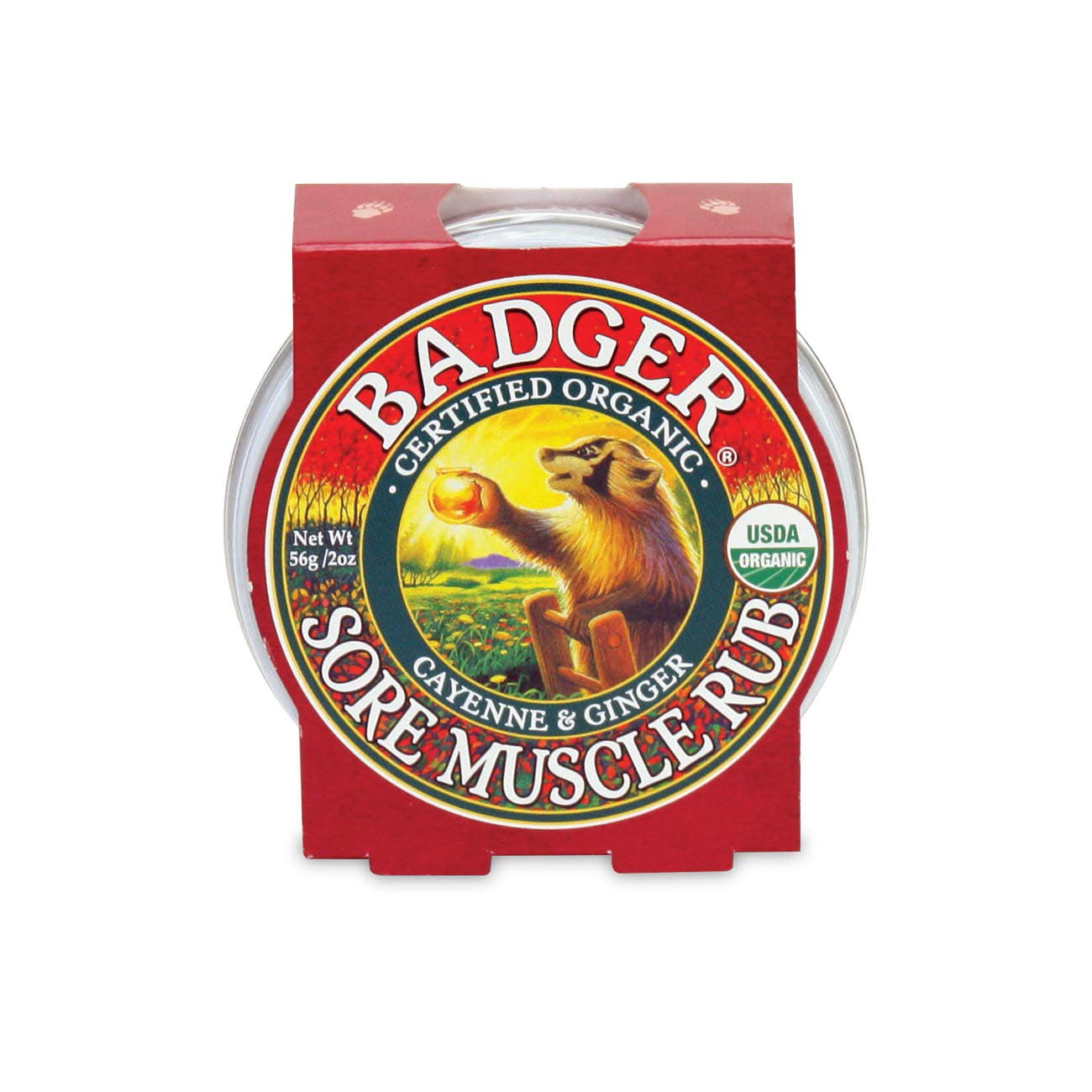 Badger - Sore Muscle Rub, Cayenne Pepper and Ginger, Organic Sore Muscle Rub, Warming Balm, Muscle Relief Balm, Warming Muscle Rub, Sore Muscle Balm, 2 oz