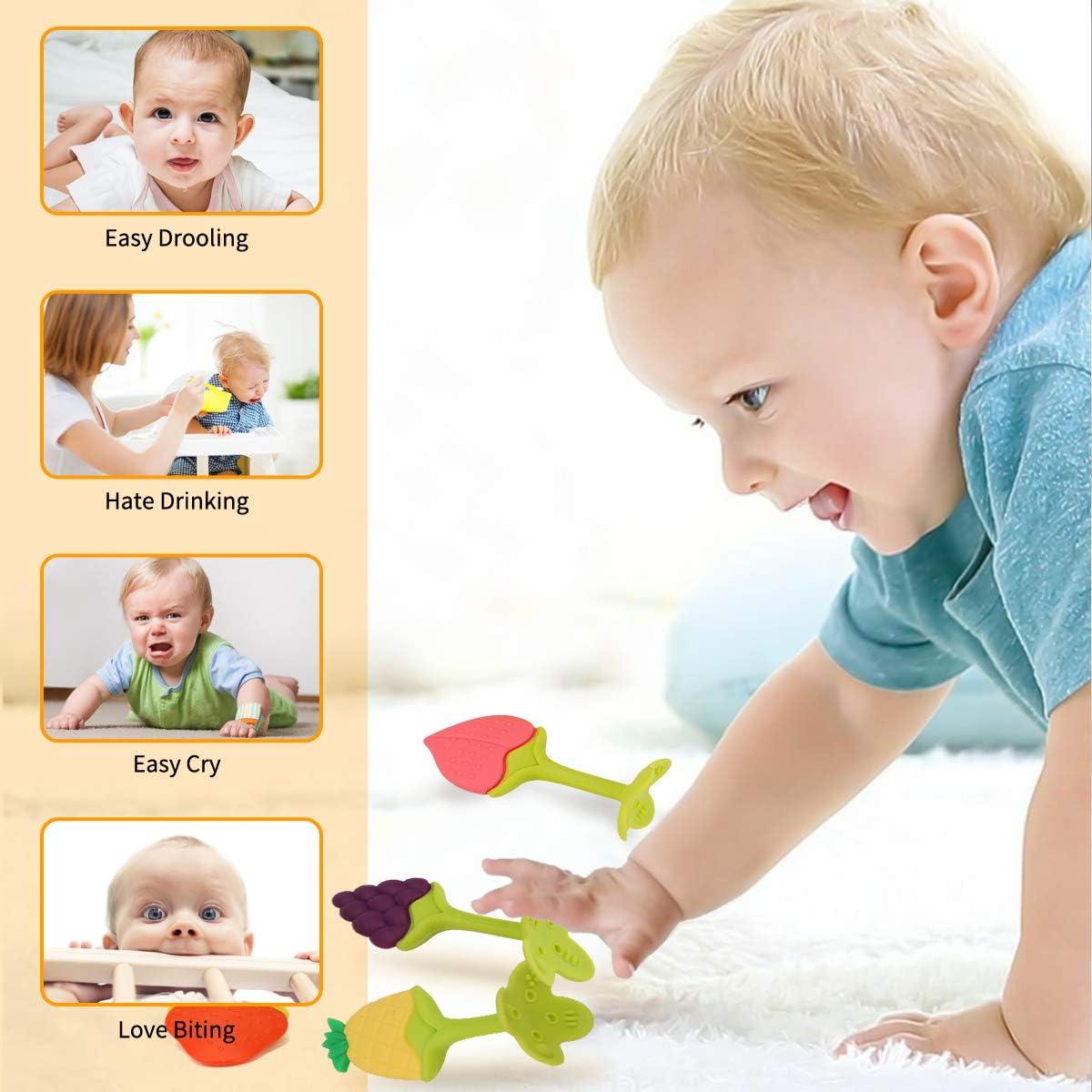 Achort b/éb/é jouets de dentition 6 pcs silicone sans BPA fruits b/éb/é dentition jouets jouet ensemble gomme massage soulagement de la douleur pour b/éb/é nourrisson bambin au-dessus de 3 mois