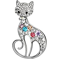 Lureme Lovely Colorful Strass Cat Brooch Pin Jewelry Gift for Women Girls (br000085)