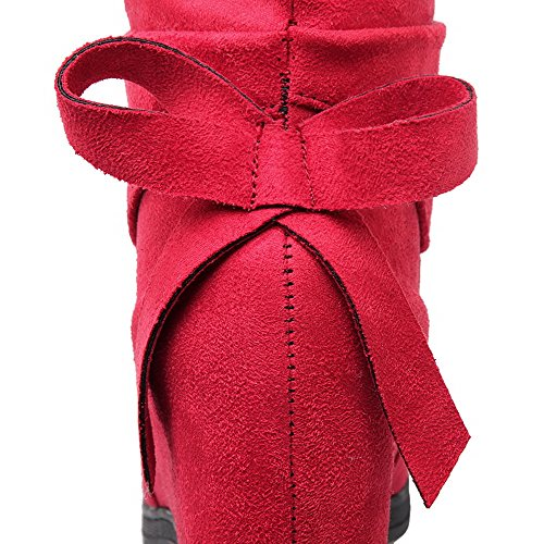 Toe Women's Pull Boots Suede Heels on Closed Solid WeiPoot Red Round Imitated High 6wWZdqY