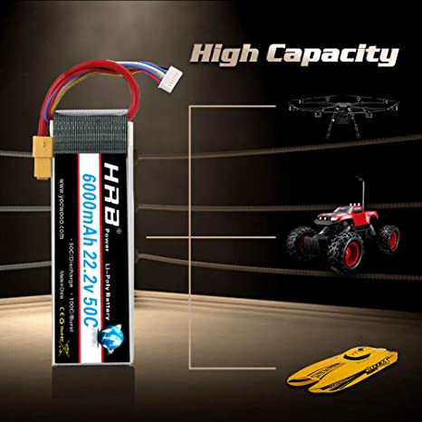 Amazon.com: HRB 6S 6000mAh 22.2V Lipo Battery 50C-100C XT90 Plug for RC DJI Airplane Quadcopter Helicopter Align 7.2 700L Yak 54 T-REX: Toys & Games