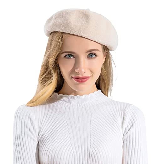 be6c187510f BAVST Women s Classic French Beret Solid Color Chenille Beanies for Women  (Beige)