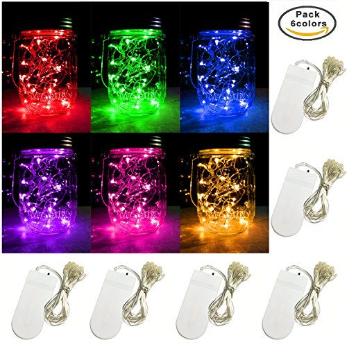 6 PCS 6-Colors LED String Light, Battery Operated 20 Micro Starry LED Silver Copper Wire Lights, 6.5 Feet/2M,Best for Mason Jar Lights,Moon Lights,Party,Wedding and Home Decoration (6 Colors)