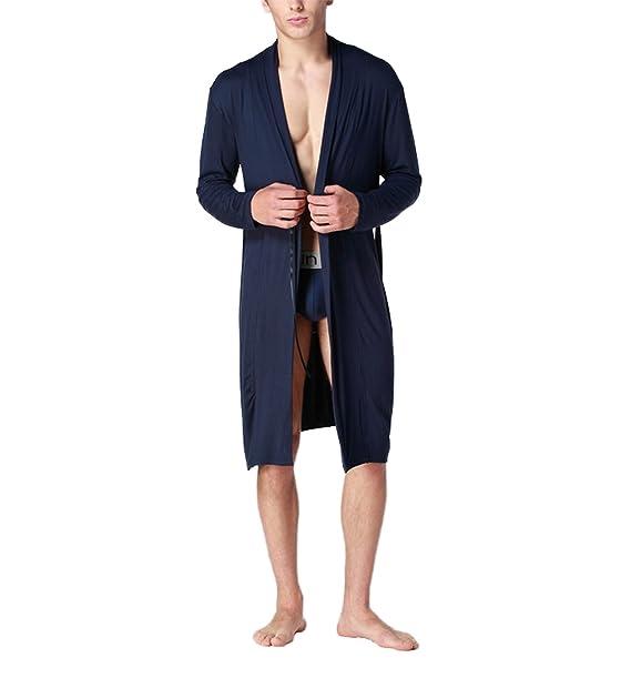 Asskyus Pijama de Albornoz Modal para Hombre Kimono (L, Armada)