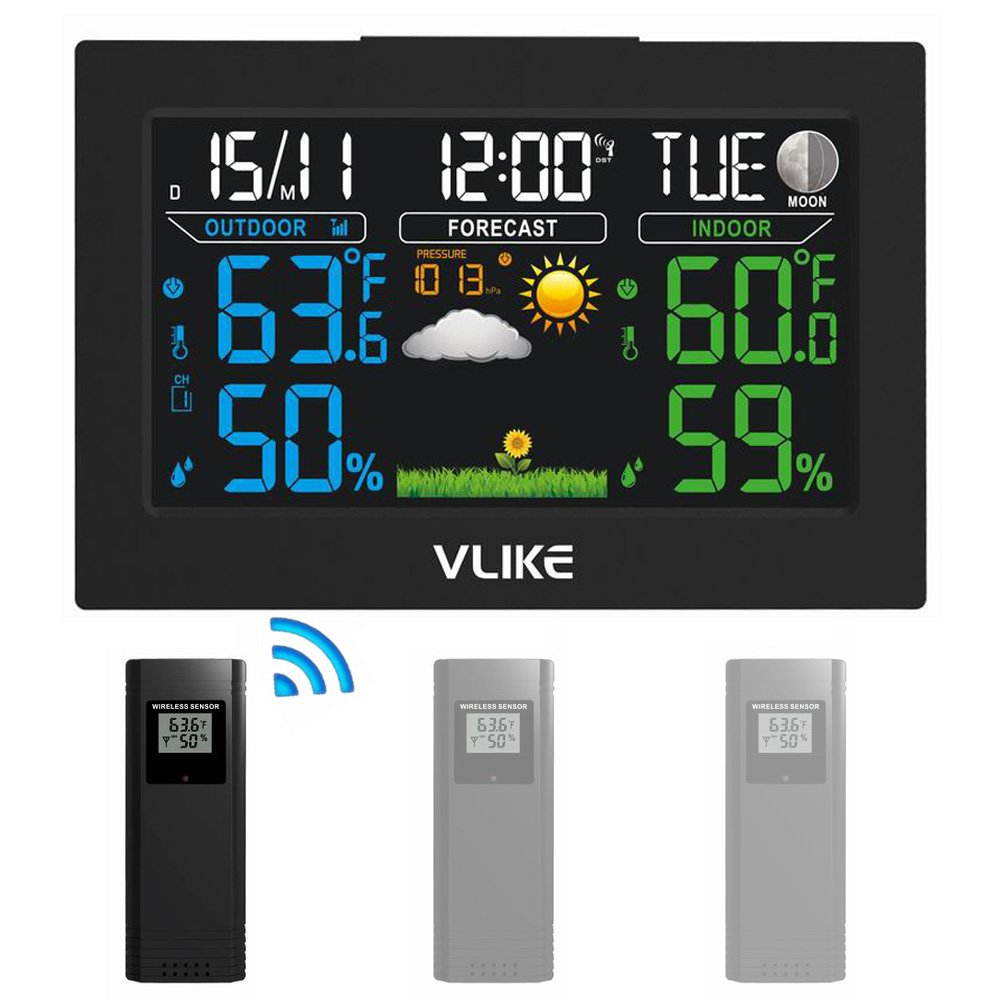 Fun Land Wireless Weather Station, Indoor Outdoor Color Forecast Station with Sensor