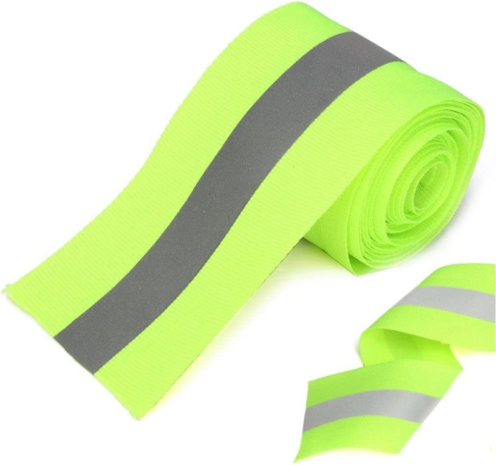 Silver Reflective Tape Safty Strip Sew on Lime Synth Fabric 3 Meters