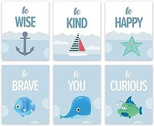 Watercolor Ocean Inspirational Quote Wall Art Print-- Playroom or Nursery Bathroom Decor-- Ocean Fish Navigation Theme Saying Canvas Print ( Set of 6 )--Unframed--8X10 inch