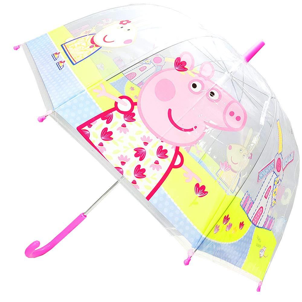 Peppa-Pig Parapluie d/ôme Transparent Manuel pour Enfant - PP11530 PP11530 Rose Rose