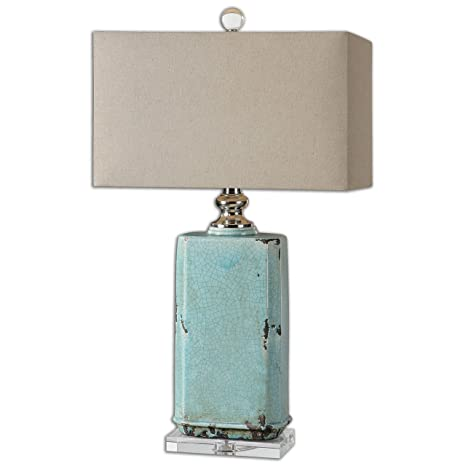 Turquoise Crackled Ceramic Table Lamp Aqua Ceramic Distressed
