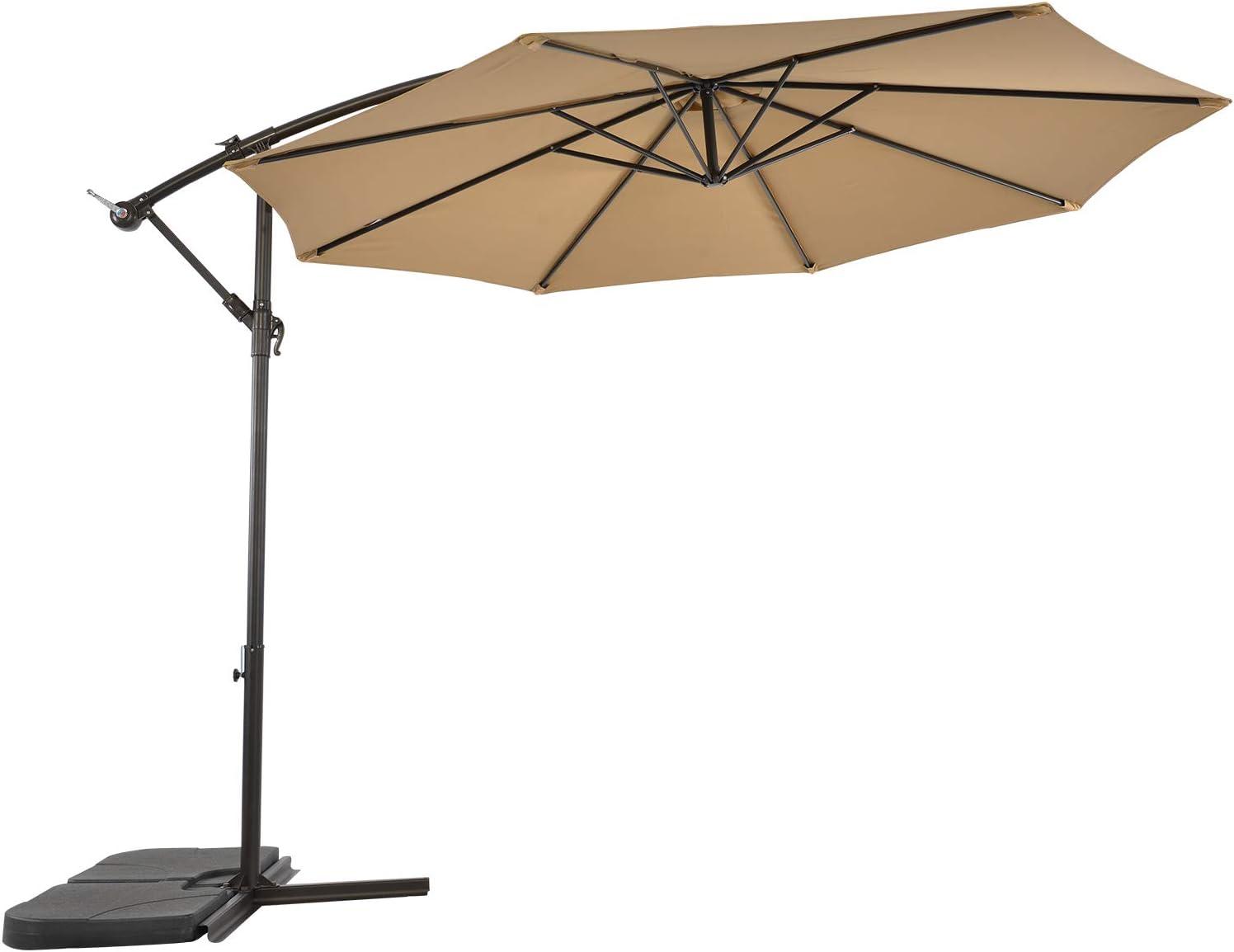 LCH 10 Feet Patio Umbrella Offset Cantilever Hanging Tilt Outdoor Umbrella, Beige