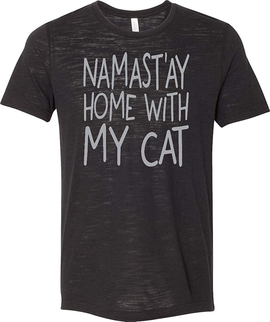 Yoga T-Shirt Namast'ay Home with My Cat Burnout Tee