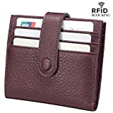 Reeple Women's RFID Blocking Small Compact Bifold Leather Pocket Wallet with ID Window(Purple)