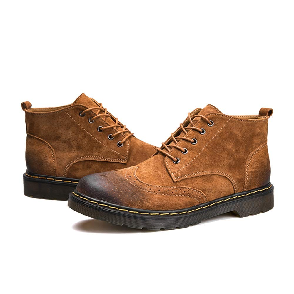 CHENJUAN Shoes Mens Fashion Ankle Boot Casual Simple and Comfortable Retro Brogue Style Lacing Up High Top Boot