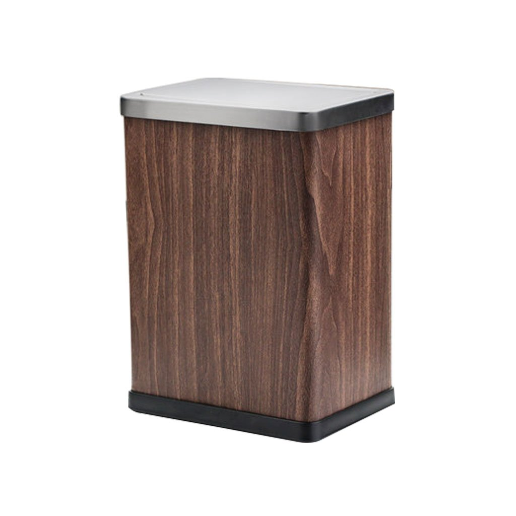 Shi xiang shop Swing Top Trash Can With Lid, 12 Liter Square Stainless Steel Waste Bins For Bathroom, Bedroom, Office, Removable Inner Bucket, Brushed Stainless Steel (Color : Barn Wood)