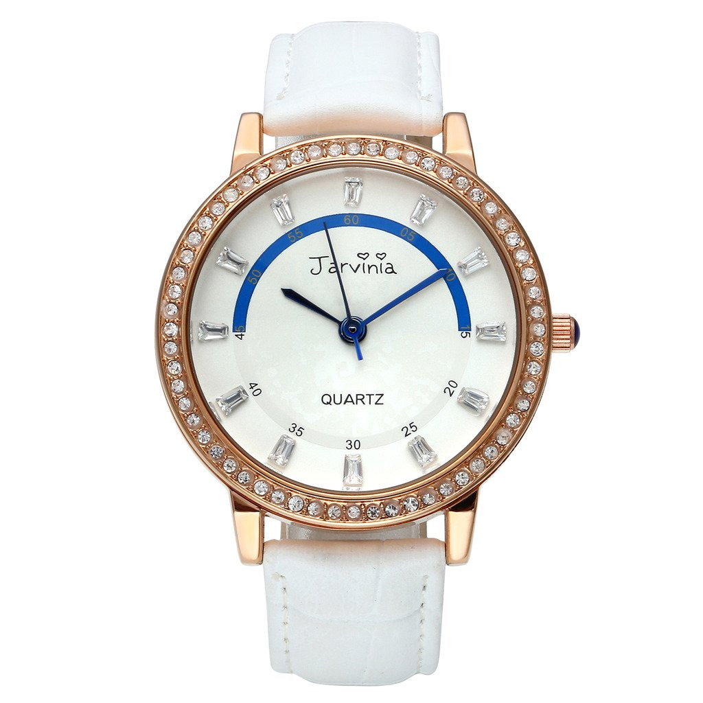 JSDDE Uhren,Elegant Frau Damen Armbanduhr Strass Damenuhr Echtleder Armband Rosegold Analog Qaurzuhr J609M,Weiss