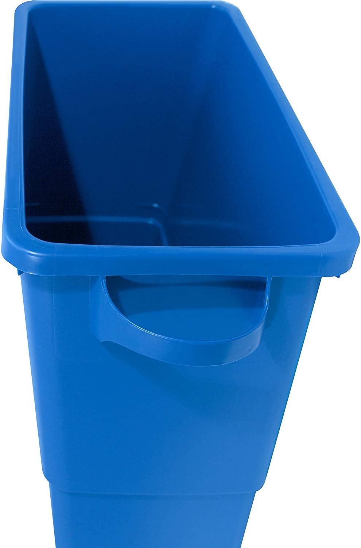 22-1//2 Width x 30 Height x 11 Depth Fоur Paсk Genuine Joe GJO57258 Recycling Rectangular Container Blue 28 gallon Capacity