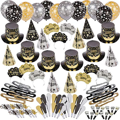 Party City Black Tie Affair New Year's Kit for 200, Includes Cone and Top Hats, Tiaras, Foil Horns, Leis and Balloons -