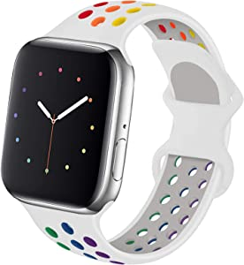 Hotflow Compatible with Apple Watch Band 38mm 40mm,Soft Silicone Sport Wristband for iWatch Series 6, Series 5, Series 4, Series 3, Series 2, Series 1,SE, S/M,White-Colorful