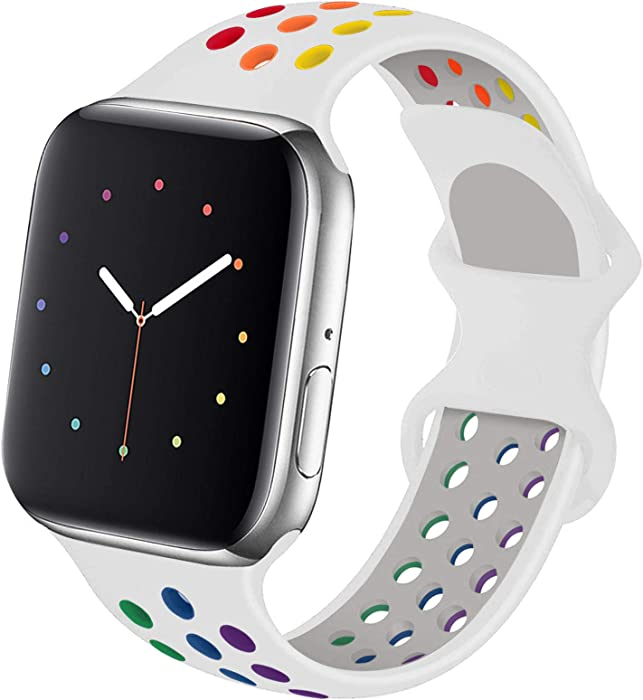 Hotflow Compatible with Apple Watch Band 42mm 44mm,Soft Silicone Sport Wristband for iWatch Series 6, Series 5, Series 4, Series 3, Series 2, Series 1,SE, S/M,White-Colorful