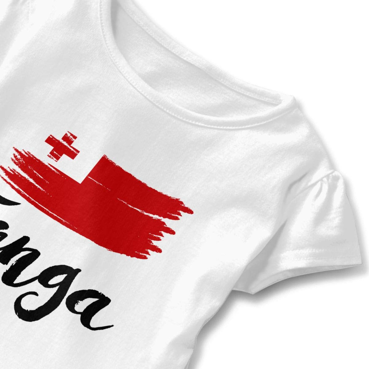 JVNSS Tonga Flag T-Shirt Kids Flounced T Shirts Fashion Graphic T-Shirt for 2-6T Kids Girls