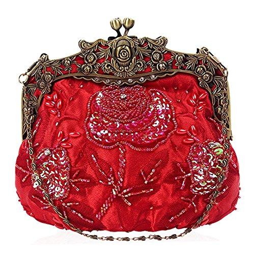 Clutch Antique Bags£¬ Wedding Beaded red Women's Party Sequin X 16cm Evening Floral Dinner 18 Bag NVBAO v5PFzqxtwq