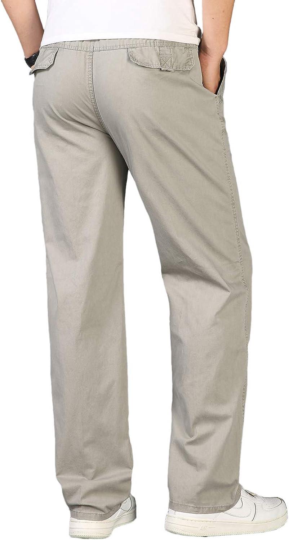 Pantalones Pantalones Hombre Pantalon Casual Para Hombre De Algodon Con Bolsillos Laterales Y Cinturon Ajustable Tallas Grandes Suelto Trabajo Pantalones Ropa