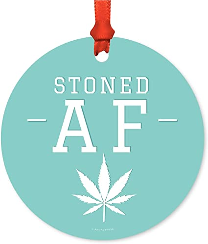 amazon com andaz press marijuana pot cannabis weed round metal christmas ornaments stoned af includes ribbon and gift bag health personal care andaz press marijuana pot cannabis weed round metal christmas ornaments stoned af includes ribbon and gift bag