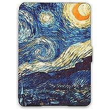 Kandouren Kindle Voyage Case - Van gogh Starry sky Unique Art Skin,Lighted Slim Leather Cover with  Autoweek function,blue color