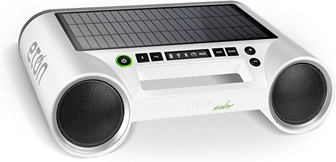 Eton Rukus Portable Bluetooth Solar Powered Wireless Speaker System (White)  - (NRKS10W)