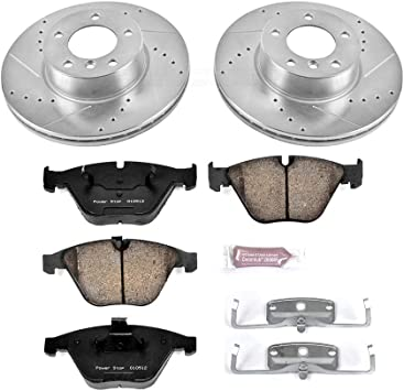 Power Stop K6074 Front and Rear Z23 Evolution Brake Kit with Drilled//Slotted Rotors and Ceramic Brake Pads