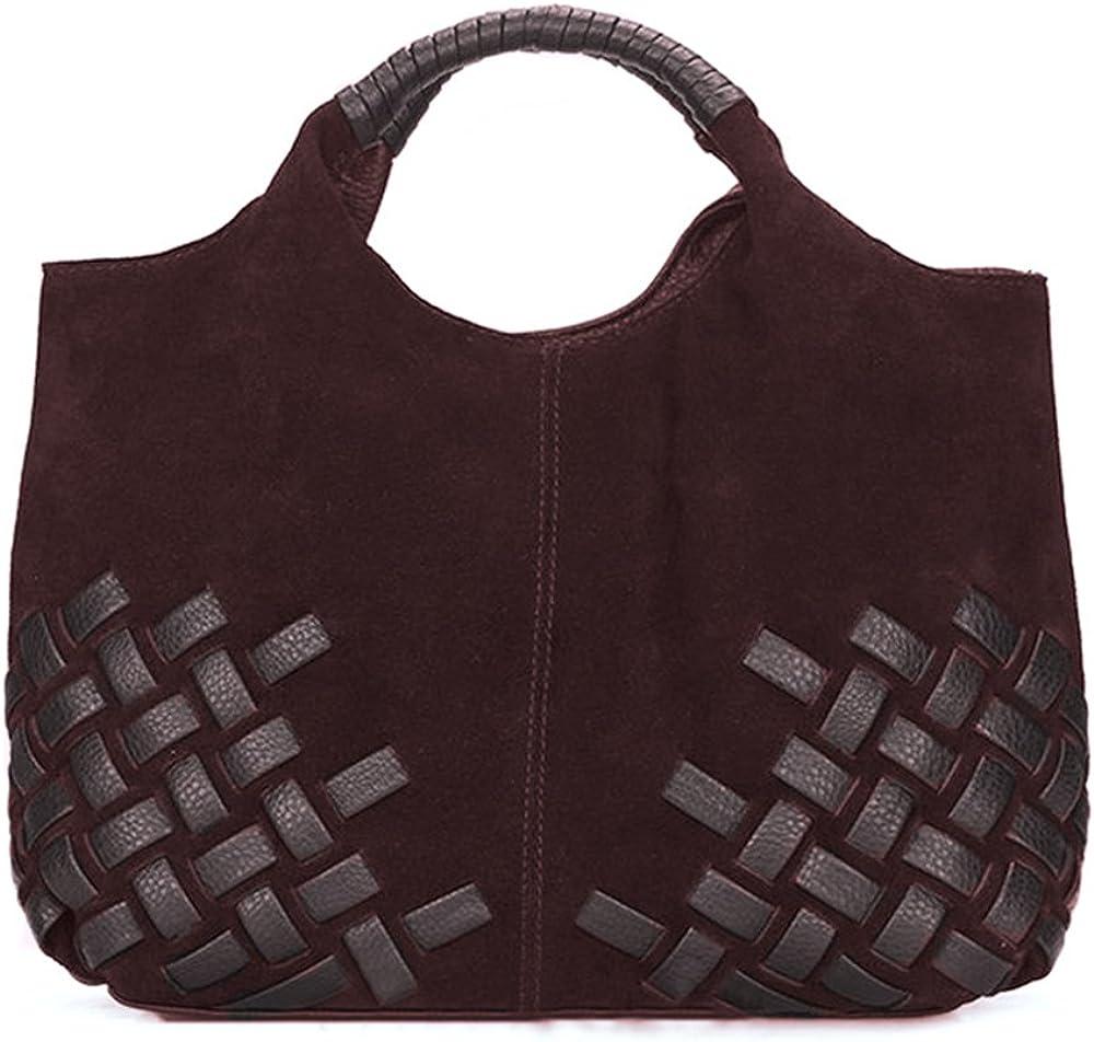 Nico Louise Women Purse Suede Split Genuine Leather Weave Handbag Leisure Casual Shoulder Bag