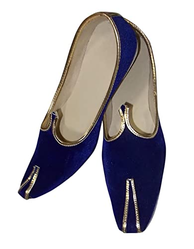 Mens Jodhpuri Blue Velvet Mojari Indian Wedding Designer Shoes JUTTI101