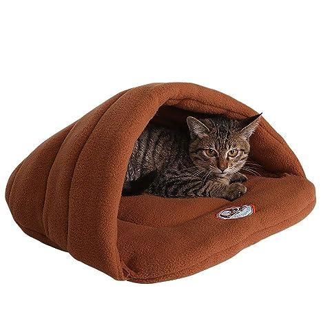 Camas Para Perros,World 9.99 Mall Cueva de mascotas Suave y cálida cama para gatos Casa para perros y gatos(XS/S/M/L) (camello, XS)