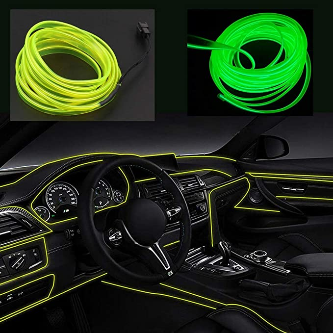 San Jison El Wires Car kit 5m//16ft Electroluminescence Light Glowing Neon String Lights for Car Door//Console//Seat//Dash Board Decoration Easily DIY Purple