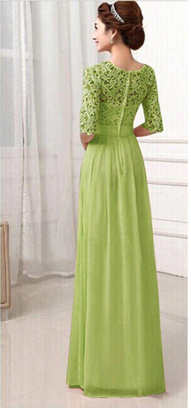 Para mujer de encaje con lazo y pedrería para vestido de dama de honor de novia Evening vestir con lazo y pedrería para e instrucciones para hacer vestidos ...