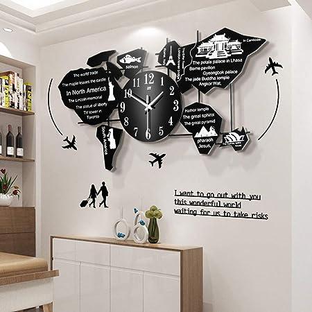 Grx Clock Weltkarte Uhr Wand Wanduhr Modern Wohnzimmer Grosse Wanduhren Wanduhr 3d Acryl Stille Weltkartekreative Wanduhr 69 X 35 Cm Amazon De Garten