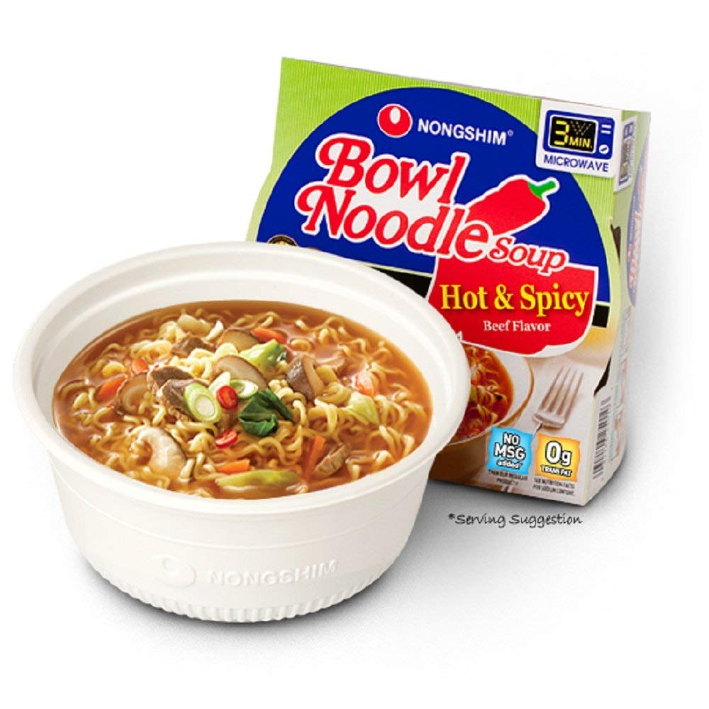 Amazon Com Nongshim Soup Bowl Noodle Hot And Spicy 3 03 Oz Grocery Gourmet Food