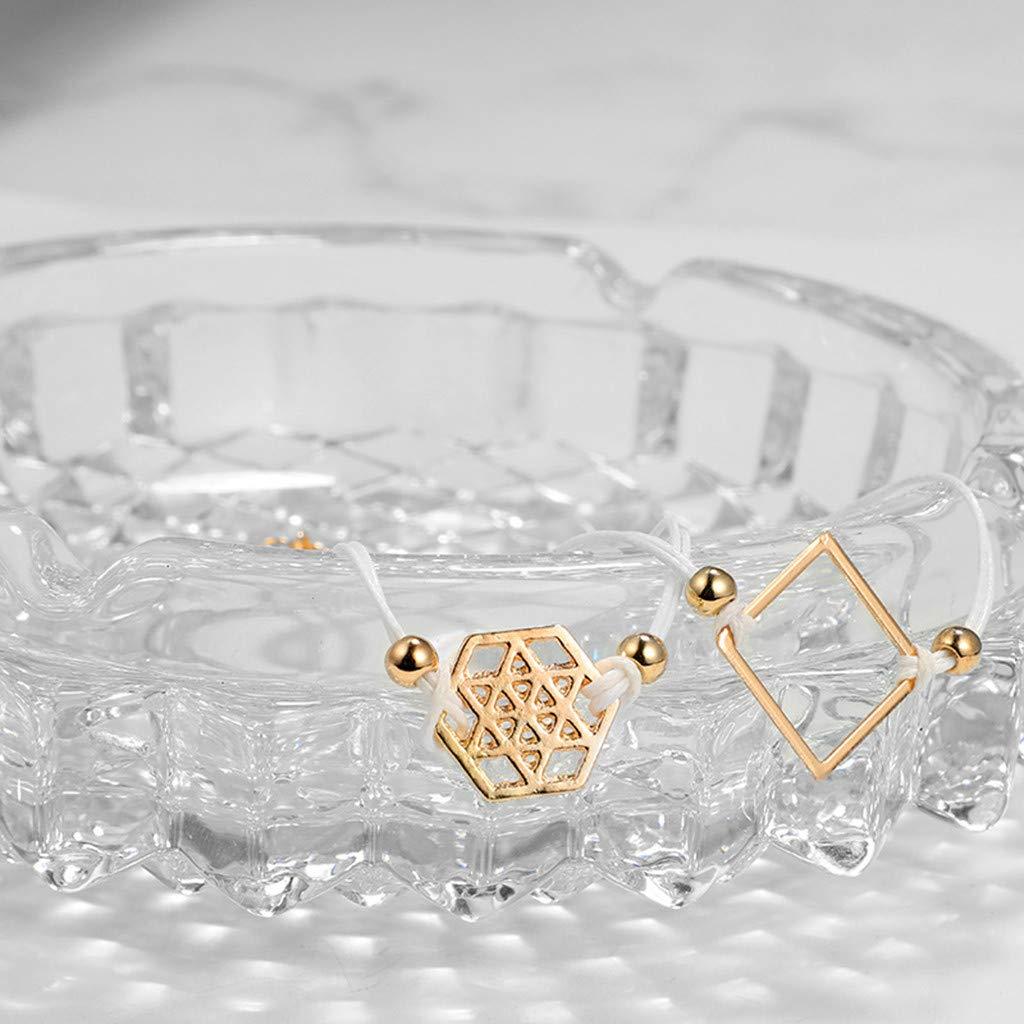 Jaminy Femme 3~5 pcs kits de bracelet manchette chaines boheme boho plage ethnique manuel r/églable ouvert fil empilable wrap pour femmes filles