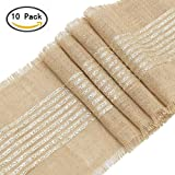 ARKSU 10Packs Burlap Table Runner Sparkly Glitter Gold Striped,12 by 108 inch Jute Hessian Vintage Rustic Natural Wedding Christmas Decor