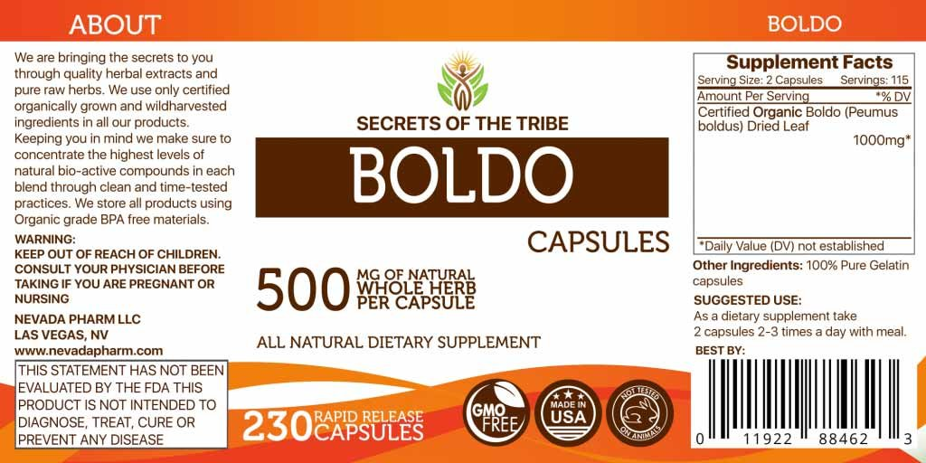 Amazon.com: Boldo 90 Capsules, 500 mg, Organic Boldo (Peumus boldus) Dried Leaf (90 Capsules): Health & Personal Care