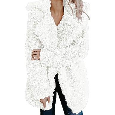 Riou Kapuzenjacke Damen Mäntel,Winter Warmer Hoodie Pullover lang Strickjacke Winterjacke Frauen Fleece Warme Künstliche Wollmantel Jacke Revers