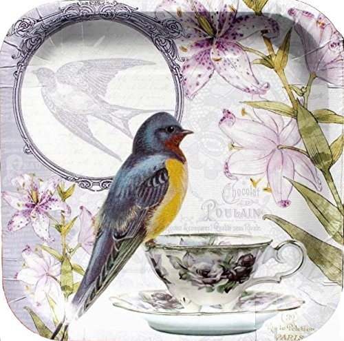 - 9in Square Set of 14 Paper Plates ~ Chocolat Poulain Purple Bird