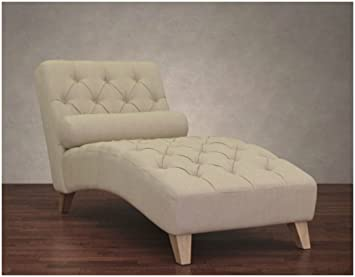 Amazon.com: Cleo Natural Linen Indoor Chaise Lounge Chair Soft ...